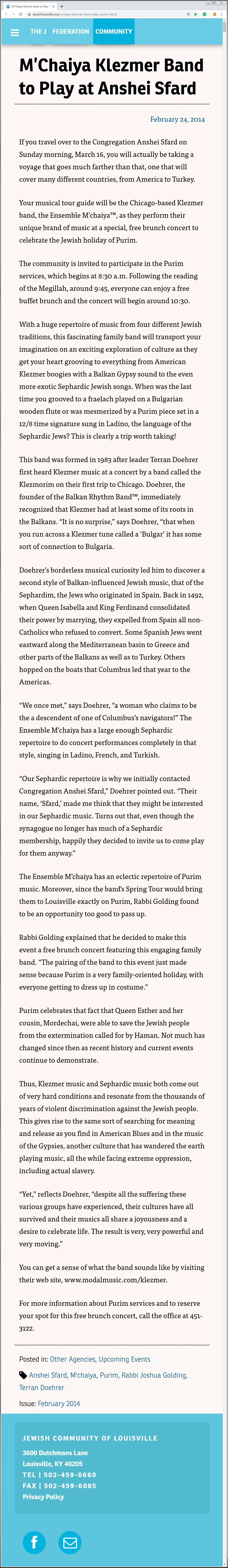 Article on the Louisville, Kentucky Jewish Federation's February 14, 2014 Jewish Community News web page about the Ensemble M'chaiya (tm).