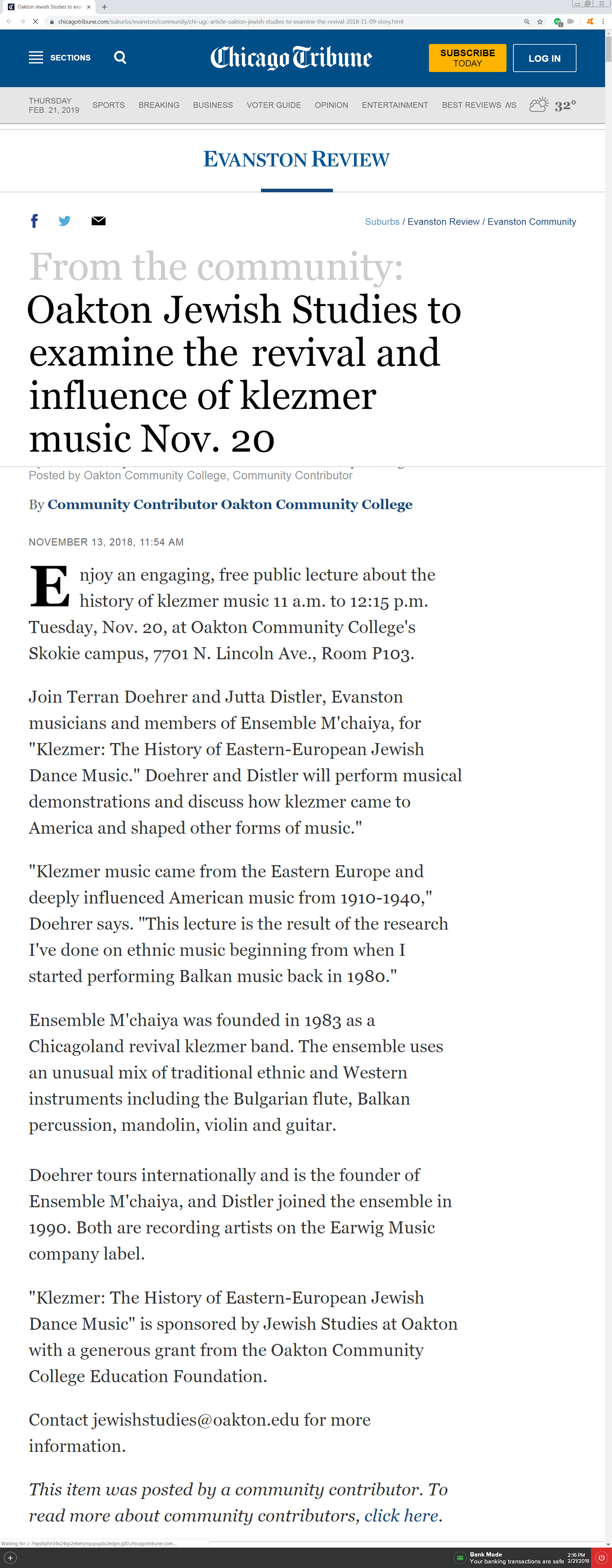 Article in the Chicago Tribune — Evanston Review From The Community's announcing the Ensemble M'chaiya (tm)'s lecture about Klezmer at Oakton Community College.