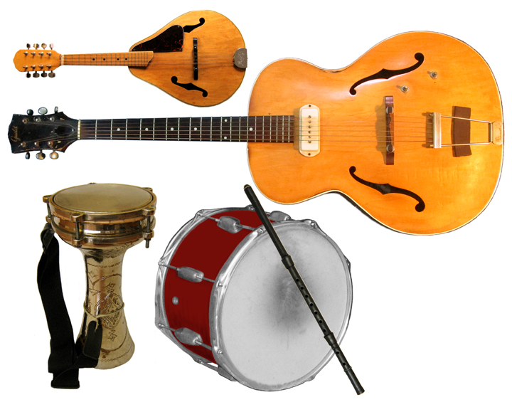 Still life of instruments played by the Ensemble M'chaiya: Mandolin, Guitar, Darabuka, Tupan, Kaval.