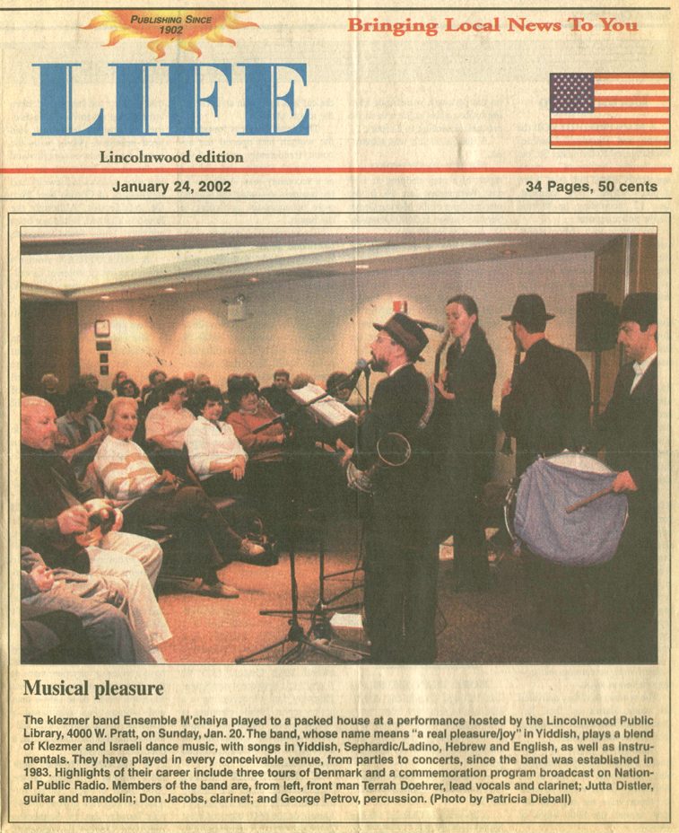 Image of the Lincolnwood  Life newspaper January 24, 2002 clipping about the Ensemble M'chaiya (tm)