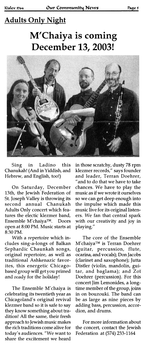 "Image of the Saint Joseph, Indiana Jewish Federation's ""Our Community News"" clipping about the Ensemble M'chaiya (tm)."