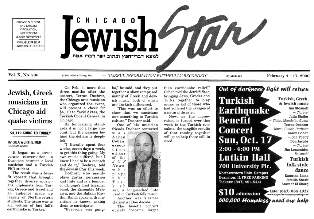 Image of the Jewish Star February 4, 2000 clipping about the Ensemble M'chaiya (tm)'s sponsorship of the Relief Benefit for the Turkish Earthquake survivors.