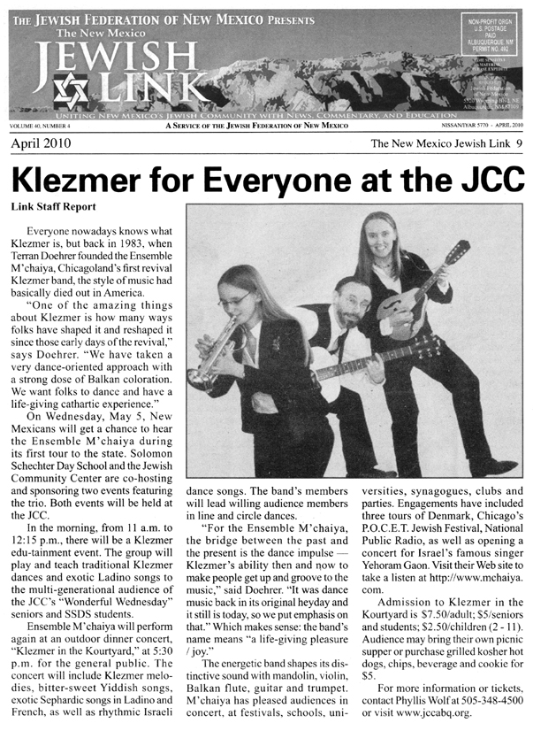 Image of the New Mexico Jewish Link Magazine April 2010 clipping about the Ensemble M'chaiya (tm) Design © 2013 Modal Music, Inc. (tm) All rights reserved.