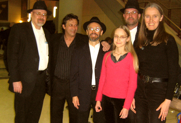 Image of Ensemble M'chaiya (tm) at the Chicago Bulls as part of their pre-game entertainment. From left to right: Steve Hart, Lupcho Kacovski, Terran Doehrer, Zoï Doehrer, Velizar Shumanov, Jutta Distler. © Modal Music, Inc. (tm) All rights reserved.