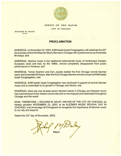 Mayor Daley's 2003 Klezmer Day Proclamation document which honored Ensemble M'chaiya and Terran Doehrer for being the first revival Klezmer band in Chicago.