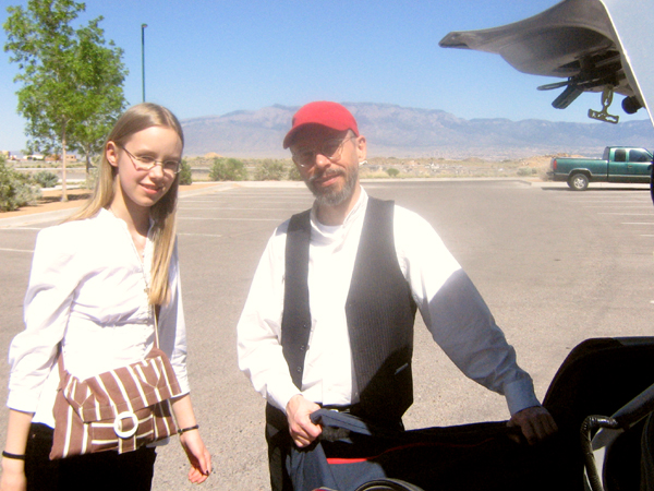 Image of Ensemble M'chaiya (tm) unloading the car for a gig in New Mexico in 2010. © 2010 Modal Music, Inc. (tm) All rights reserved.